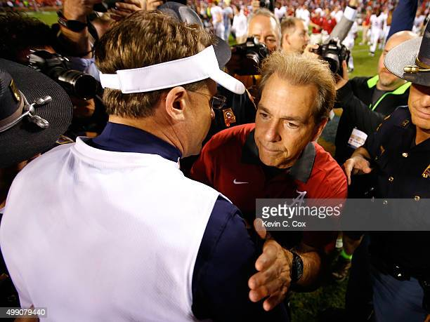 Head coach Nick Saban of the Alabama Crimson Tide shakes hands with head coach Gus Malzahn of the Auburn Tigers after their 2913 win at Jordan Hare...