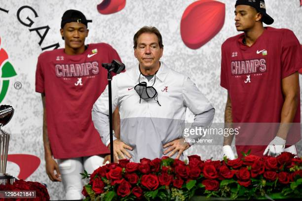 Head coach Nick Saban of the Alabama Crimson Tide stands the the trophy presentation stage after the College Football Playoff Semifinal at the Rose...