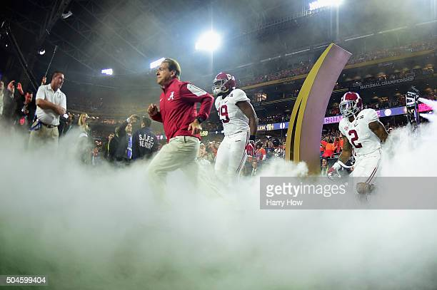 Head coach Nick Saban of the Alabama Crimson Tide takes the field with his team prior to the 2016 College Football Playoff National Championship Game...