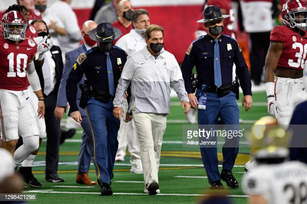Head coach Nick Saban of the Alabama Crimson Tide walks on the field after the College Football Playoff Semifinal at the Rose Bowl football game...