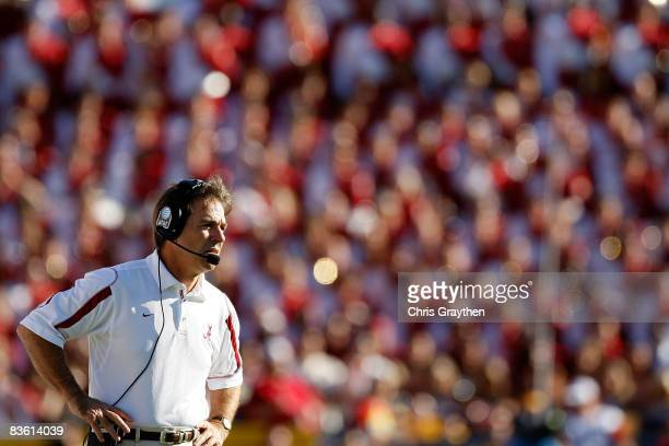 Head coach Nick Saban of the Alabama Crimson Tide watches a play against the Louisiana State University Tigers on November 11, 2008 at Tiger Stadium...
