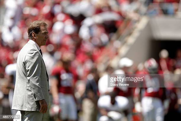 Head coach Nick Saban of the Alabama Crimson Tide watches action during the Alabama ADay spring game at BryantDenny Stadium on April 19 2014 in...
