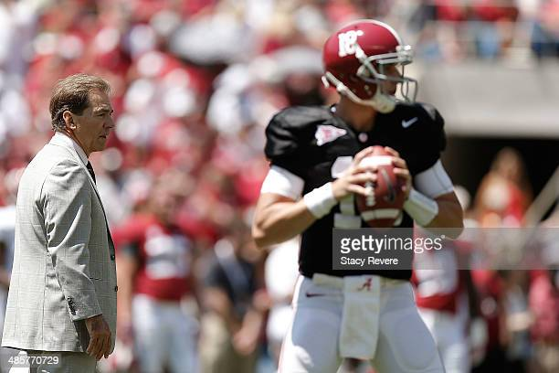 Head coach Nick Saban of the Alabama Crimson Tide watches as Coopr Bateman of the White team drops back to pass prior to the University of Alabama...