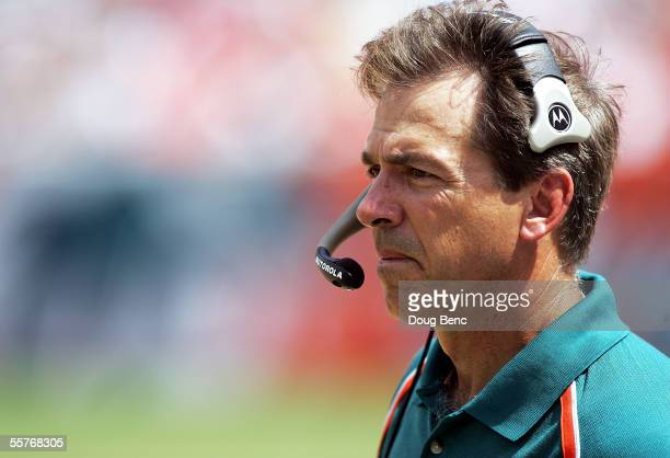 Head coach Nick Saban of the Miami Dolphins watches from the sidelines as his team takes on the Carolina Panthers on September 25 2005 at Dolphins...