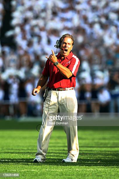 Head coach Nick Saban of the University of Alabama Crimson Tide yells on the field during the game against the Penn State Nittany Lions at Beaver...