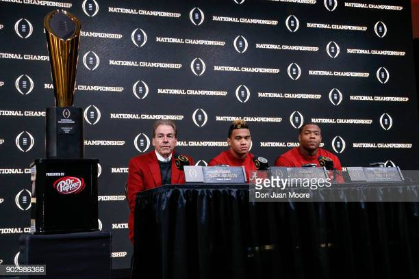 Head Coach Nick Saban Quarterback Tua Tagovailoa and Defensive Lineman Da'Ron Payne of the Alabama Crimson Tide answer questions from the media...