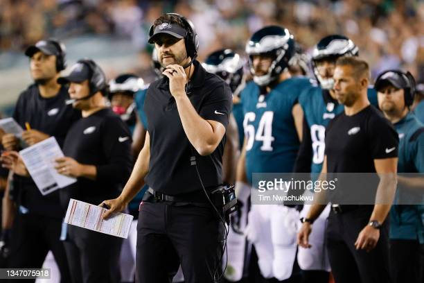 Head coach Nick Sirianni of the Philadelphia Eagles looks on against the Tampa Bay Buccaneers at Lincoln Financial Field on October 14, 2021 in...