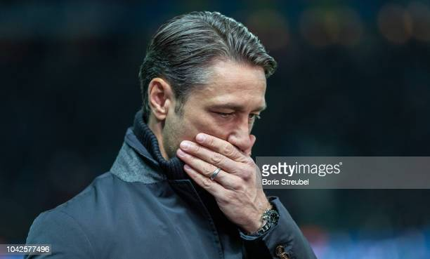 Head coach Nico Kovac of FC Bayern Muenchen reacts prior to during the Bundesliga match between Hertha BSC and FC Bayern Muenchen at Olympiastadion...