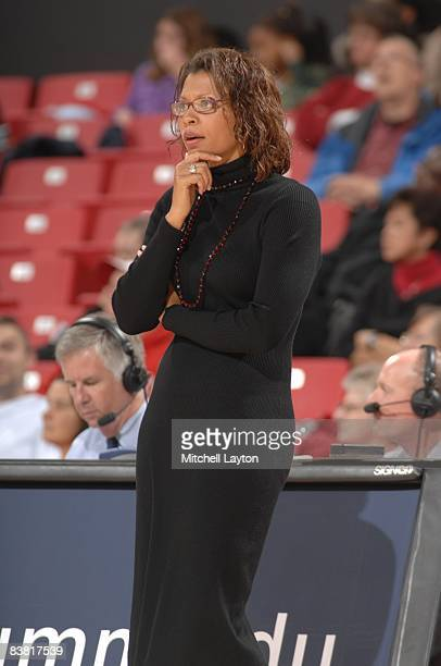 Head coach Nikki Caldwell of the UCLA Bruins looks on during a womens college basketball game against the Maryland Terrapins on Novmeber 23 2008 at...