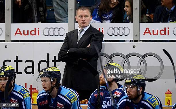 Head coach Niklas Sunblad of Ingolstadt looks on in game six of the DEL final playoffs between ERC Ingolstadt and Koelner Haie at Saturn Arena on...