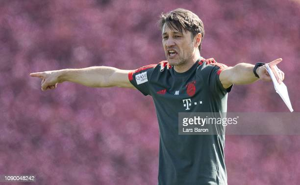 Head coach Niko Kovac gestures during a training session at day two of the Bayern Muenchen training camp at Aspire Academy on January 05 2019 in Doha...