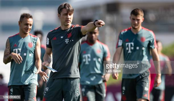 Head coach Niko Kovac gives instructions during a training session at day three of the Bayern Muenchen training camp at Aspire Academy on January 05...