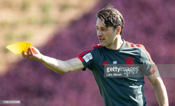 Head coach Niko Kovac is seen during a training session at day two of the Bayern Muenchen training camp at Aspire Academy on January 05 2019 in Doha...