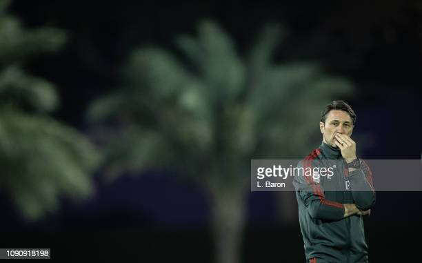 Head coach Niko Kovac looks on during a training session at day four of the Bayern Muenchen training camp at Aspire Academy on January 07 2019 in...