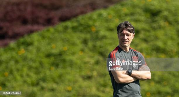 Head coach Niko Kovac looks on during a training session at day three of the Bayern Muenchen training camp at Aspire Academy on January 05 2019 in...