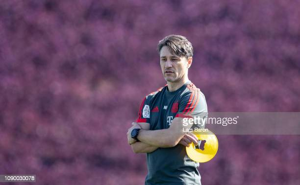 Head coach Niko Kovac looks on during a training session at day two of the Bayern Muenchen training camp at Aspire Academy on January 05 2019 in Doha...