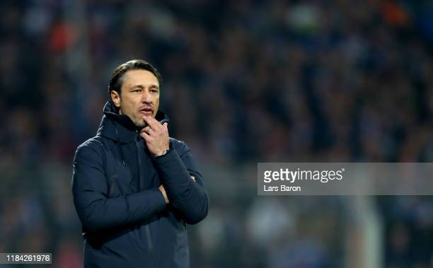 Head coach Niko Kovac of Bayern Muenchen reacts during the DFB Cup second round match between VfL Bochum and Bayern Muenchen at Vonovia Ruhrstadion...