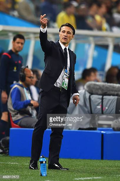 Head coach Niko Kovac of Croatia gestures from the sidelines during the 2014 FIFA World Cup Brazil Group A match between Brazil and Croatia at Arena...