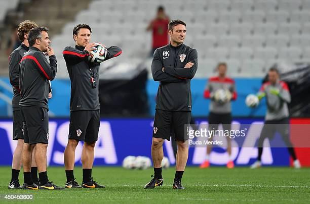 Head coach Niko Kovac of Croatia looks on with assistant coach Robert Kovac during a Croatia Training session ahead of the 2014 FIFA World Cup Brazil...