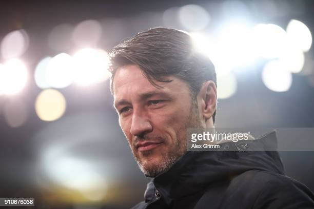 Head Coach Niko Kovac of Eintracht Frankfurt looks on during an interview prior the Bundesliga match between Eintracht Frankfurt and Borussia...