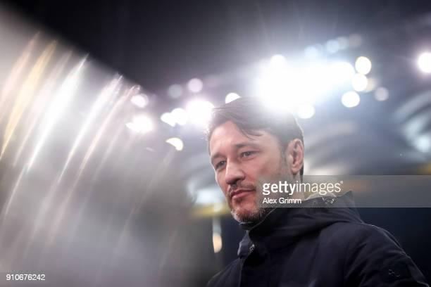 Head Coach Niko Kovac of Eintracht Frankfurt looks on during an interview prior the Bundesliga match between Eintracht Frankfurt and Borussia...