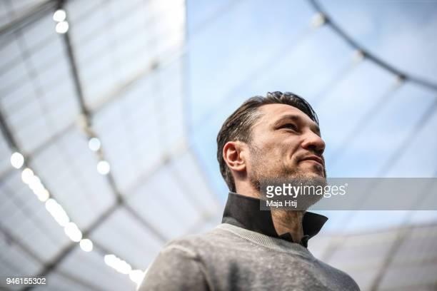 Head Coach Niko Kovac of Eintracht Frankfurt looks on prior the Bundesliga match between Bayer 04 Leverkusen and Eintracht Frankfurt at BayArena on...