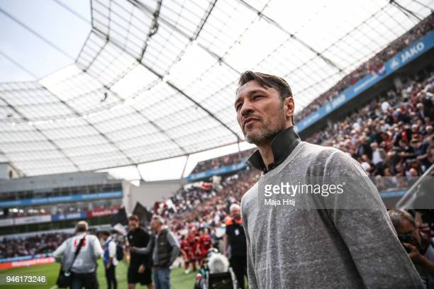 Head Coach Niko Kovac of Eintracht Frankfurt looks on prior the Bundesliga match between Bayer 04 Leverkusen and Eintracht Frankfurt at BayArena on...