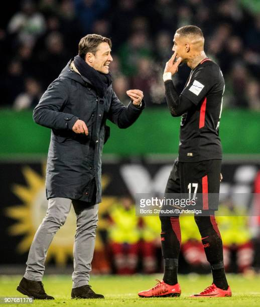 Head coach Niko Kovac of Eintracht Frankfurt reacts with Kevin PrinceBoateng of Eintracht Frankfurt during the Bundesliga match between VfL Wolfsburg...