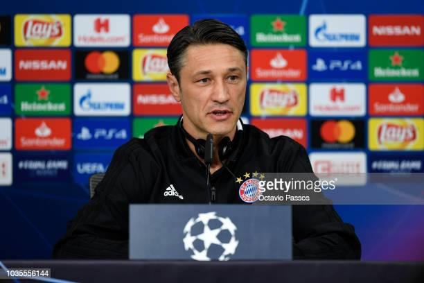 Head coach Niko Kovac of FC Bayern Muenchen answers to the media during the press conference prior the Group E match of the UEFA Champions League...