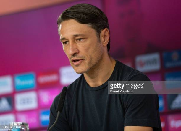 Head coach Niko Kovac of FC Bayern Muenchen attends a press conference at Bayern Muenchen's headquarters Saebener Strasse on August 14 2019 in Munich...