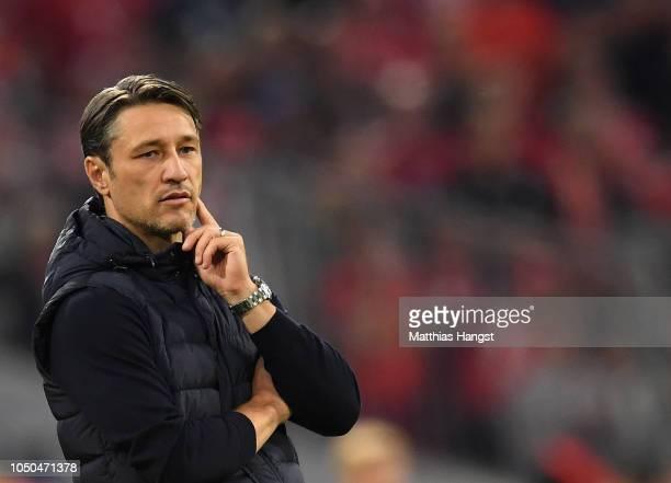 Head coach Niko Kovac of FC Bayern Muenchen reacts during the Bundesliga match between FC Bayern Muenchen and Borussia Moenchengladbach at Allianz...
