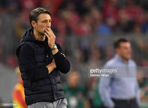 Head coach Niko Kovac of FC Bayern Muenchen reacts during the Bundesliga match between FC Bayern Muenchen and Borussia Moenchengladbach at Allianz...