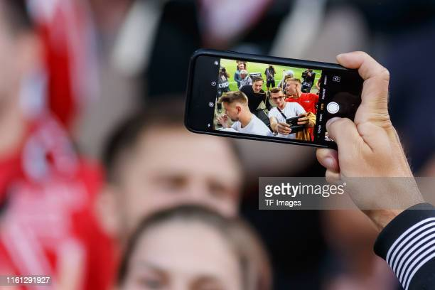 Head coach Niko Kovac of FC Bayern Muenchen takes photos prior to the DFB Cup first round match between Energie Cottbus and FC Bayern Muenchen at...