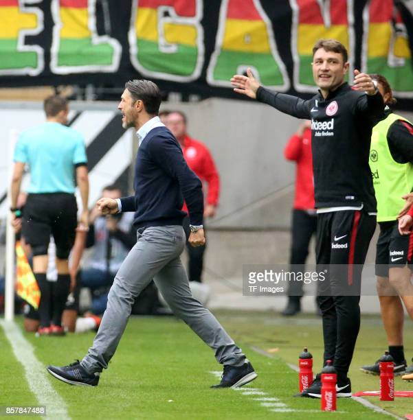 Head Coach Niko Kovac of Frankfurt and Co Coach Robert Kovac of Frankfurt gestures during the Bundesliga match between Eintracht Frankfurt and VfB...