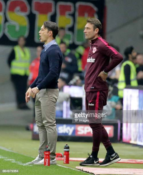 Head coach Niko Kovac of Frankfurt and Robert Kovac of Frankfurt looks on during the Bundesliga Match between Eintracht Frankfurt and Borussia...