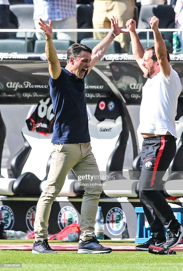 Head coach Niko Kovac of Frankfurt celebrates winning after the Bundesliga match between Eintracht Frankfurt and Borussia Dortmund at Commerzbank-Arena on May 07, 2016 in Frankfurt am Main.