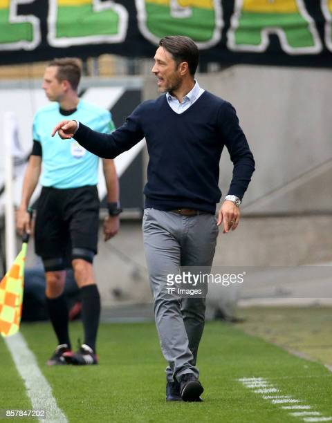 Head Coach Niko Kovac of Frankfurt gestures during the Bundesliga match between Eintracht Frankfurt and VfB Stuttgart at CommerzbankArena on...