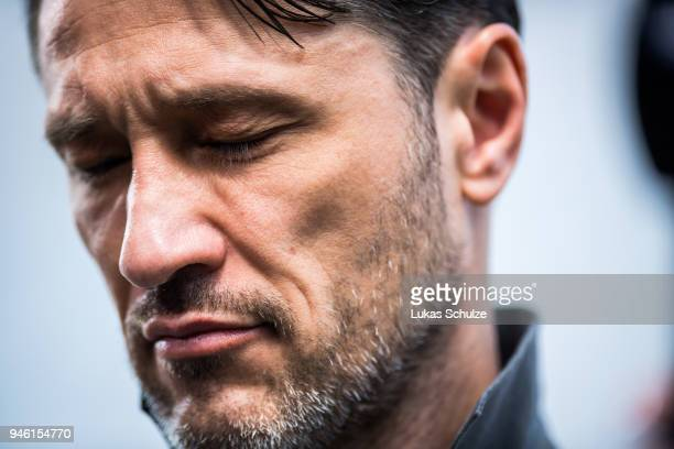 Head Coach Niko Kovac of Frankfurt is seen during an interview prior to the Bundesliga match between Bayer 04 Leverkusen and Eintracht Frankfurt at...