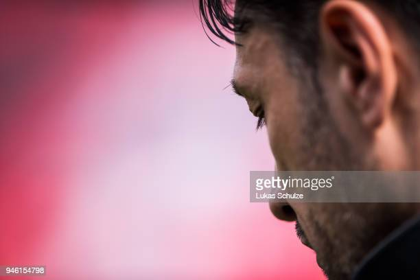 Head Coach Niko Kovac of Frankfurt is seen during an interview prior to the Bundesliga match between Bayer 04 Leverkusen and Eintracht Frankfurt at...
