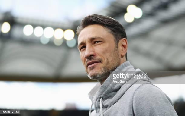 Head coach Niko Kovac of Frankfurt looks on prior to the Bundesliga match between Eintracht Frankfurt and RB Leipzig at CommerzbankArena on May 20...
