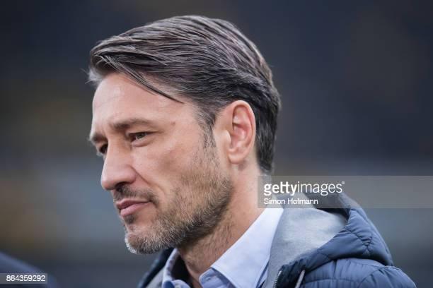 Head coach Niko Kovac of Frankfurt looks on prior to the Bundesliga match between Eintracht Frankfurt and Borussia Dortmund at CommerzbankArena on...