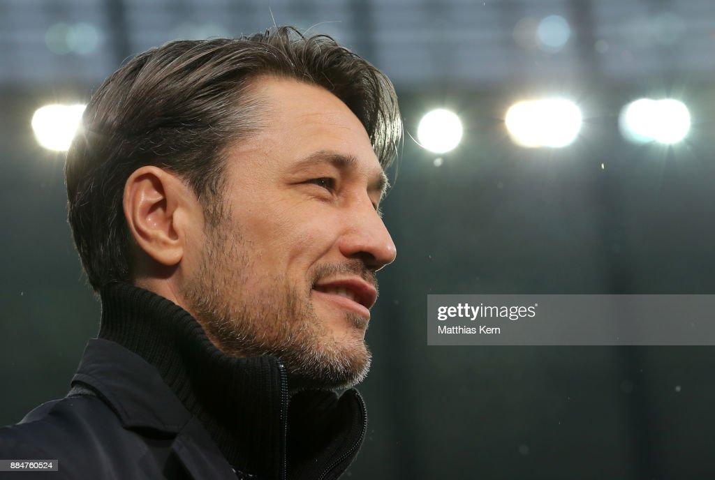 Head coach Niko Kovac of Frankfurt looks on prior to the Bundesliga match between Hertha BSC and Eintracht Frankfurt at Olympiastadion on December 3, 2017 in Berlin, Germany.