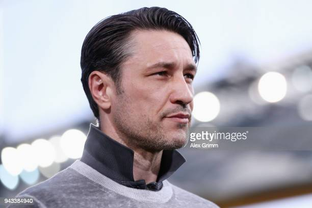 Head coach Niko Kovac of Frankfurt looks on prior to the Bundesliga match between Eintracht Frankfurt and TSG 1899 Hoffenheim at CommerzbankArena on...
