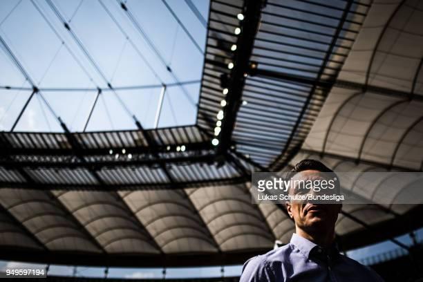 Head Coach Niko Kovac of Frankfurt looks up prior to the Bundesliga match between Eintracht Frankfurt and Hertha BSC at CommerzbankArena on April 21...