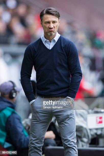 Head coach Niko Kovac of Frankfurt reacts during the Bundesliga match between Eintracht Frankfurt and Borussia Dortmund at CommerzbankArena on...