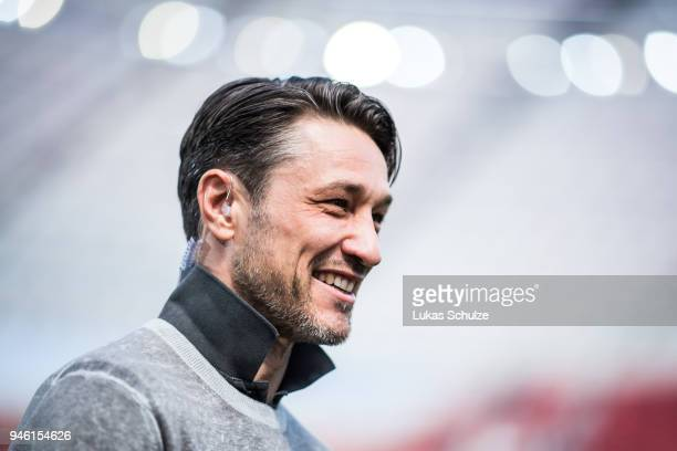 Head Coach Niko Kovac of Frankfurt smiles during an interview prior to the Bundesliga match between Bayer 04 Leverkusen and Eintracht Frankfurt at...