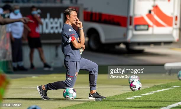 Head coach Niko Kovac of Monaco is seen during the friendly match between Eintracht Frankfurt and AS Monaco at Deutsche Bank Park on August 01, 2020...