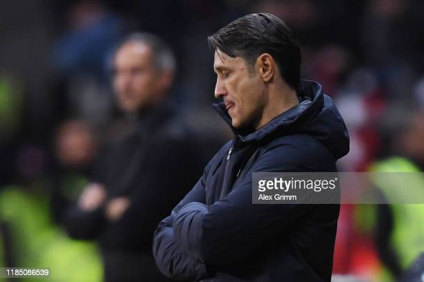 Head coach Niko Kovac of Muenchen reacts during the Bundesliga match between Eintracht Frankfurt and FC Bayern Muenchen at CommerzbankArena on...