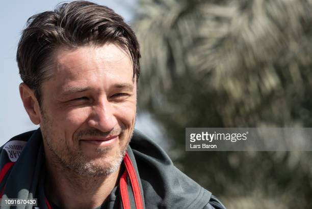 Head coach Niko Kovac smiles after a training session at day six of the Bayern Muenchen training camp at Aspire Academy on January 07 2019 in Doha...