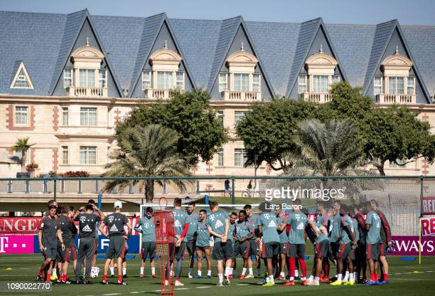 Head coach Niko Kovac speaks to his players during a training session at day two of the Bayern Muenchen training camp at Aspire Academy on January 05...